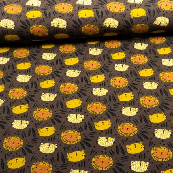 BIO Baumwolljersey Digital WIld Cats braun