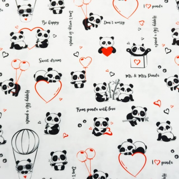 Bio-Baumwolljersey Pandaworld Girl weiß