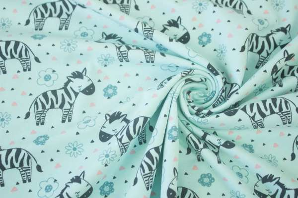 Lovely Zebra mint Baumwolljersey Öko Tex 100