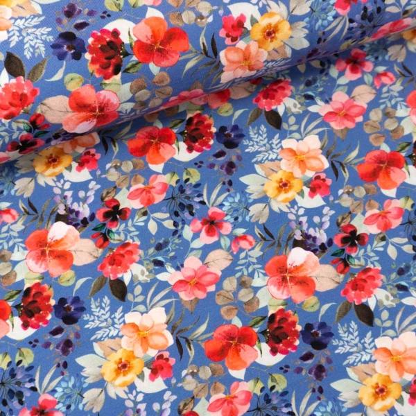 Bio Baumwolljersey Blooms jeansblau