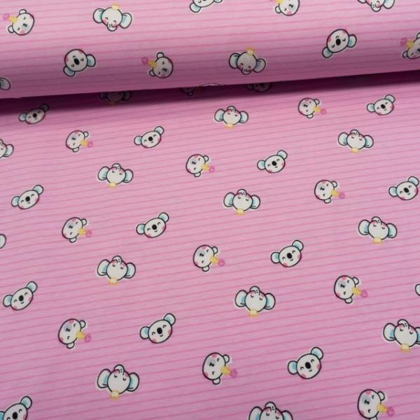 Baumwolljersey Cute Animalheads rosa