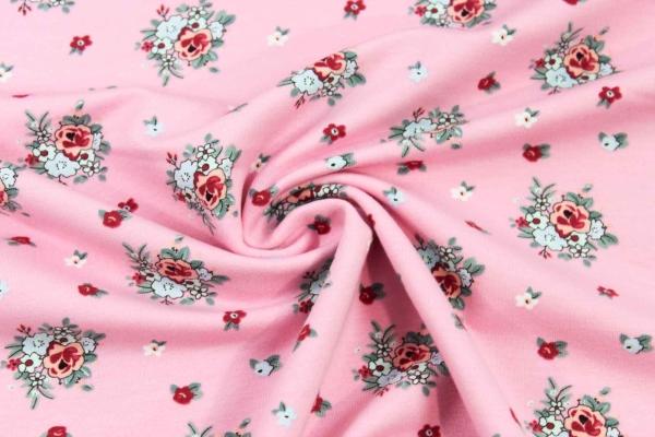 Sweat unangeraut kleine Rosen rosa Ökotex 100