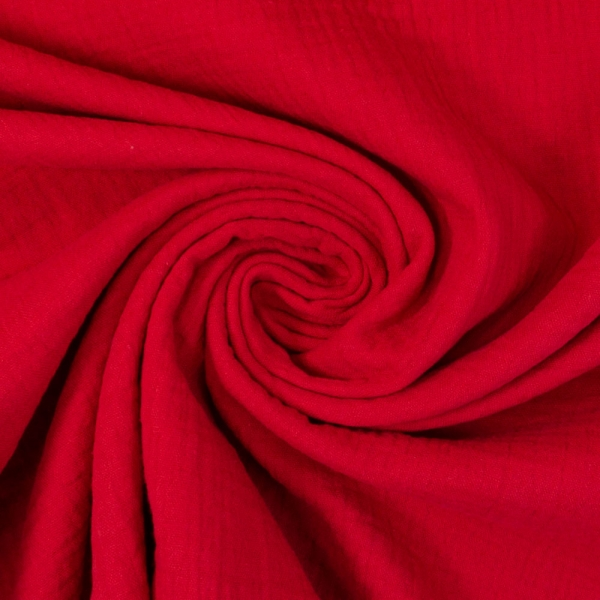 Bio-Musselin Double Gauze Uni rot 100% Baumwolle Ökotex 100