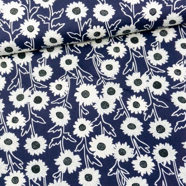 Baumwollwebware Sonnenblume navy