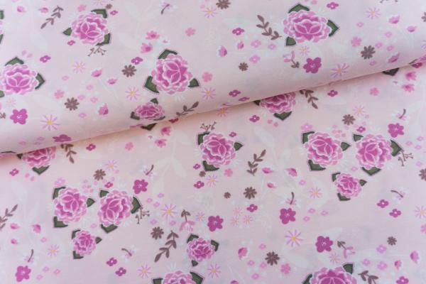 Baumwolljersey Lotusblüte rosa Öko Tex 100