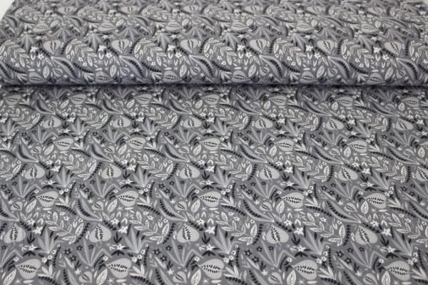 Blätterzweige grau Baumwolljersey Oko Tex 100