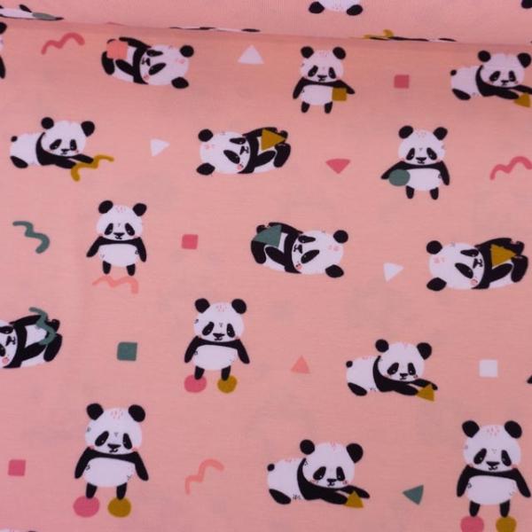 Bio-Baumwolljersey Playful Panda rosa Ökotex 100