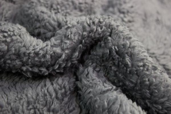 Teddyplüsch mittelgrau 100% Baumwolle Ökotex 100