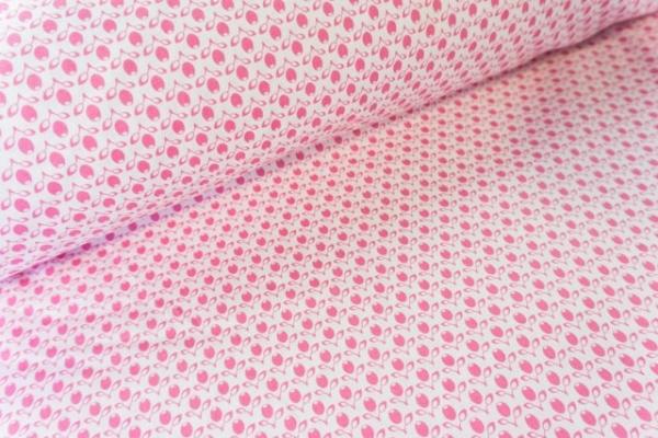 Gütermann Ring a Roses kleine Tulpen weiß-pink Öko Tex 100