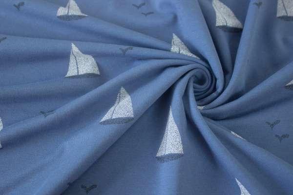 "Sail Away ""Setzt die Segel"" jeansblau-dunkel Baumwolljersey Öko Tex 100"