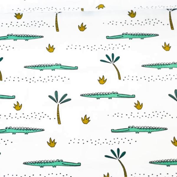 Bio-Baumwolljersey Crocodile weiß Ökotex 100