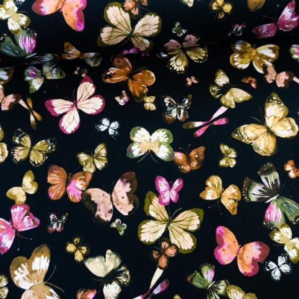 Bio-Sweat French Terry Butterflies schwarz Ökotex 100