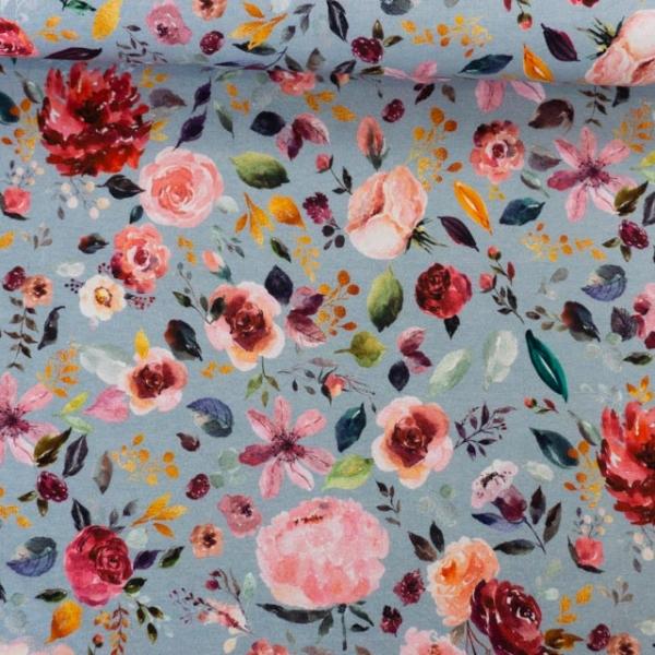Bio-Baumwolljersey Painted Flowers jeansblau Ökotex 100