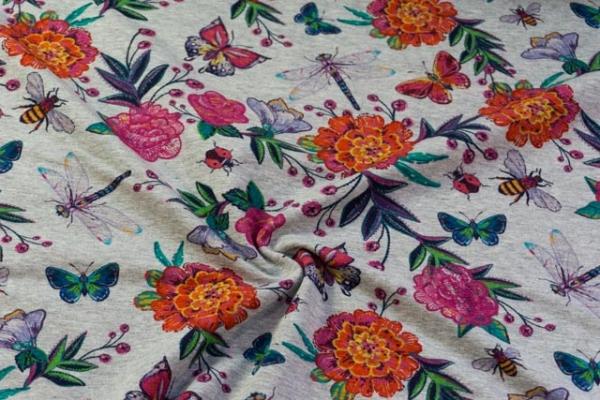 Sweat unangeraut DIGITAL Flowers in Spring hellgrau meliert Ökotex 100