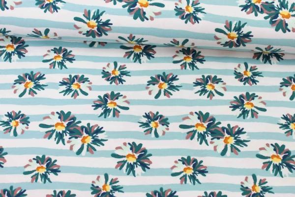 Sweat unangeraut Flowers and Stripes mint-türkis Ökotex 100