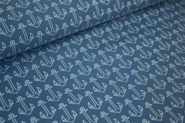 Meerestraum Anker jeansblau dunkel Baumwolljersey Öko Tex 100