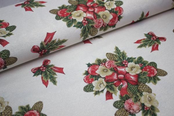 Canvas Glam gold Weihnachtsblume hellbeige 100% Baumwolle Ökotex 100