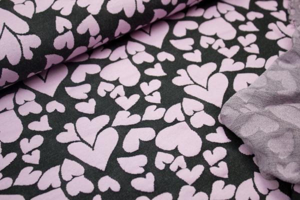 Jacquard Jersey Doubleface Flying Hearts Schwarz-Rosè Ökotex 100