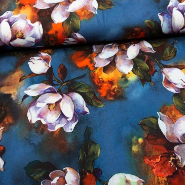 Jersey Soft Skin Große Blumen blau