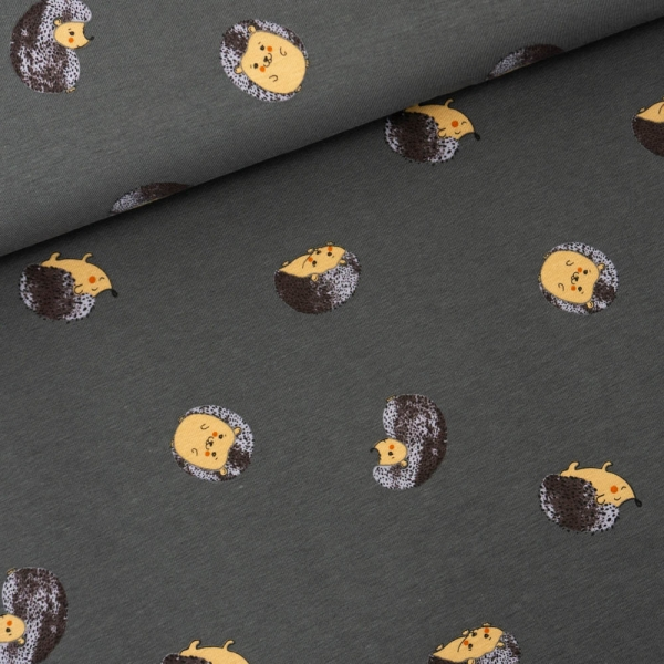 Baumwolljersey Kleiner Igel dunkelgrau