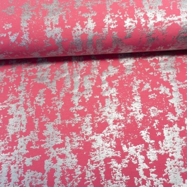 Poloshirt Baumwolljersey Silber Foliendruck rosa