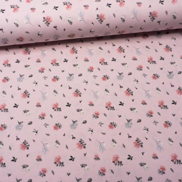 Baumwolljersey Kleine Schnittrosen rosa