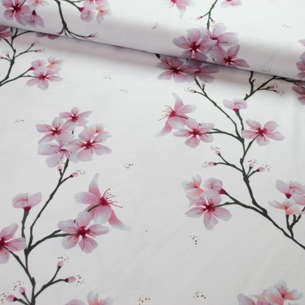 Baumwolljersey Kirschblüten weiß Ökotex 100