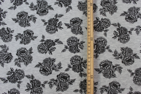 Baumwolljersey Romantic Rose schwarz-grau meliert Öko Tex 100