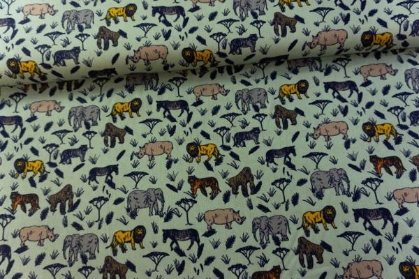 Baumwolle/Webware Serengeti Safari mint Ökotex 100