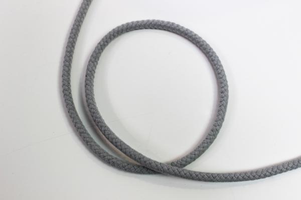 8mm Kordel geflochten hellgrau Baumwolle
