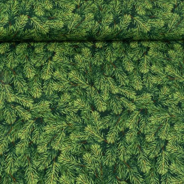 Baumwollwebware Christmas Tannenzweige grün