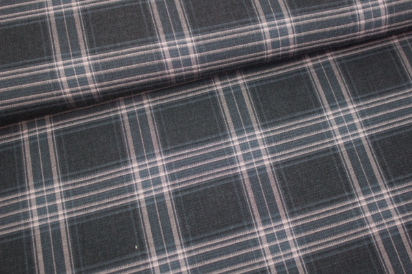 Blusenstoff Check Helsinki elastisch schwarz-altrosa Ökotex 100