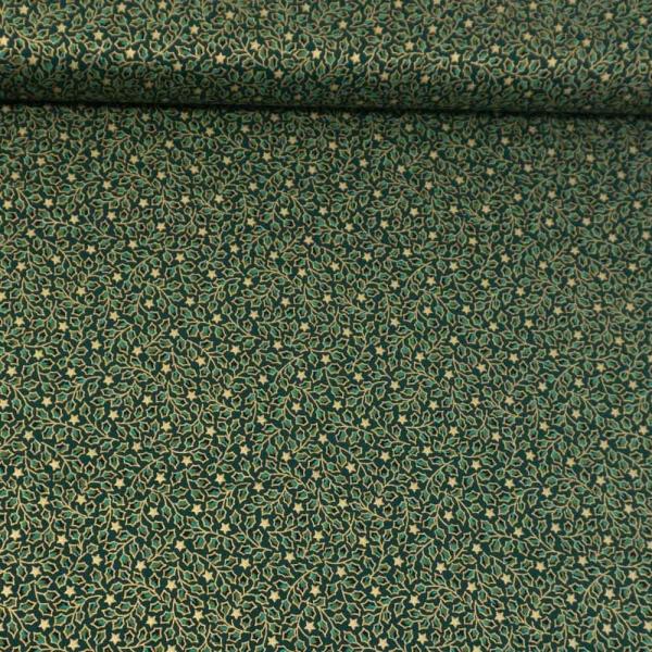 Baumwollwebware Christmas Misteltoe tannengrün
