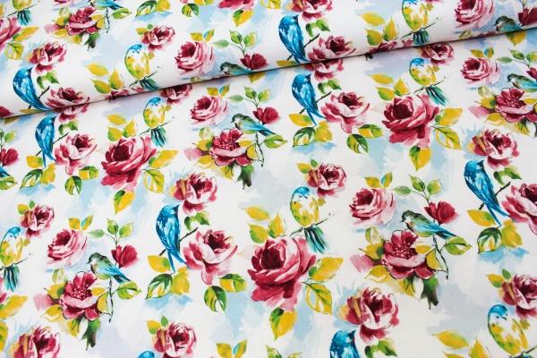 Canvas DIGITAL Roses weiß 100% Baumwolle Ökotex 100