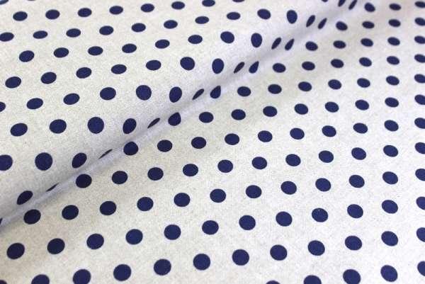 Baumwoll Taschen-/Dekostoff Punkte ca 1,5 cm natur-blaulila