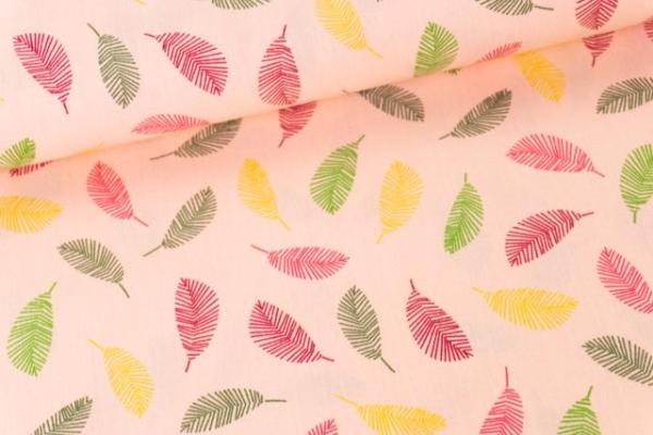 Baumwollwebware Popeline Rainbowleaves rose Ökotex 100