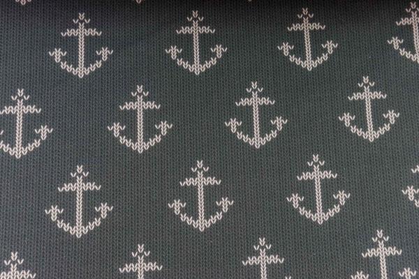 Baumwolljersey Anchor Knit anthra - weiß Ökotex 100