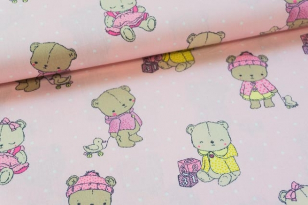 Baumwolle/Webware Baby Bear rosa Ökotex 100