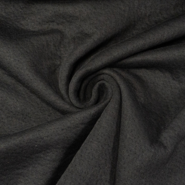 Doubleface Baumwolljersey Lochoptik schwarz