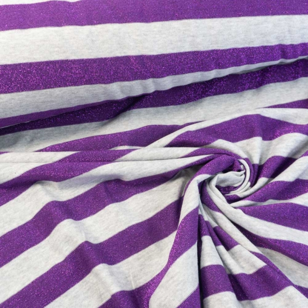 Strick-Jersey Glam Stripes hellgrau meliert-lila