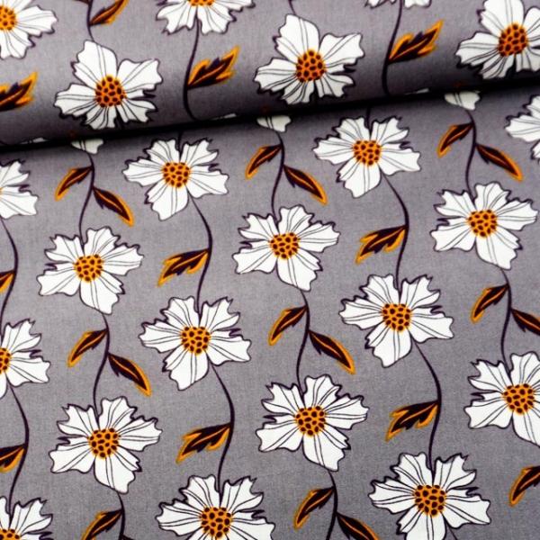Baumwollwebware Blumentanz mittelgrau