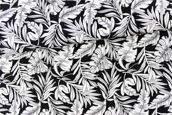 Viskose Palmenblätter schwarz-ecru Ökotex 100