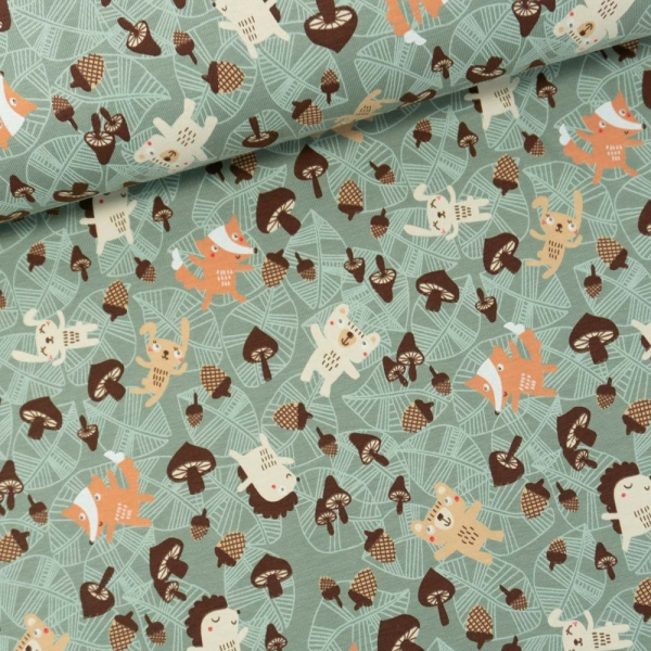 Baumwolljersey Autum Animals dusty mint