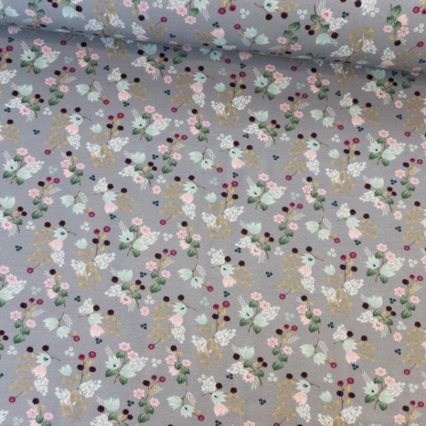 Baumwolljersey Babyblumen Bouquet grau Ökotex 100