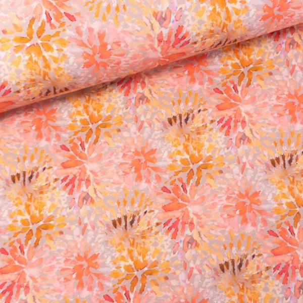 Sommersweat French Terry Digital Abstrakte Blumen beige