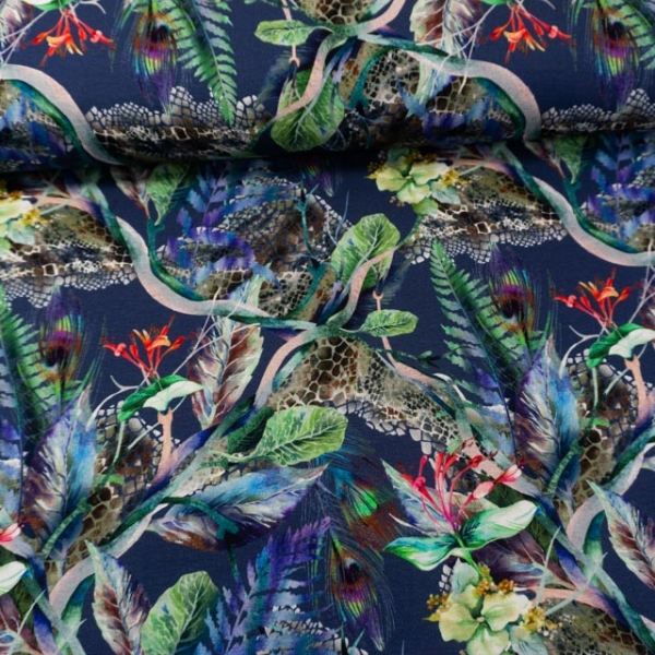 Viskosejersey Digital Tropenfelder jeansblau-dunkel