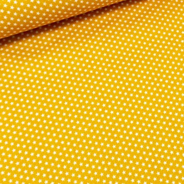 Baumwollwebware Mini Sterne dunkelgelb