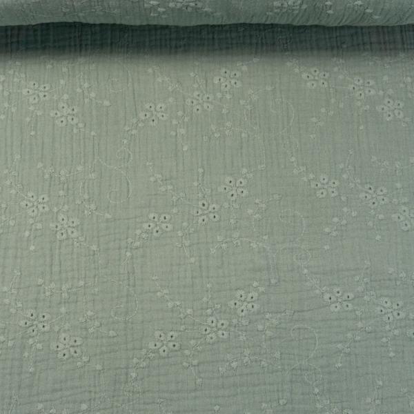 Musselin Double Gauze Rankenstickerei dusty mint
