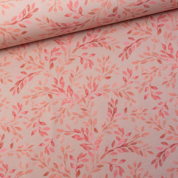 Sommersweat French Terry Digital Aquarellzweige altrosa