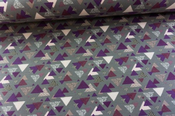 Jersey-Sweat angeraut Dreiecke grau Ökotex 100
